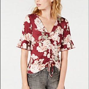 Ultra Flirt Juniors Flower Printed Ruched Top